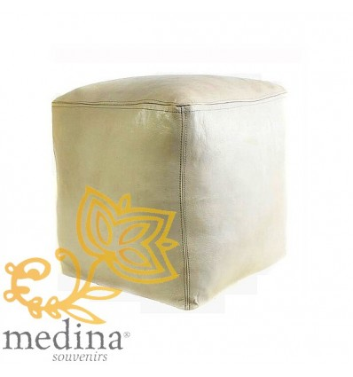 pouf marocain cube blanc en cuir pouf artisanal en cuir v ritable. Black Bedroom Furniture Sets. Home Design Ideas