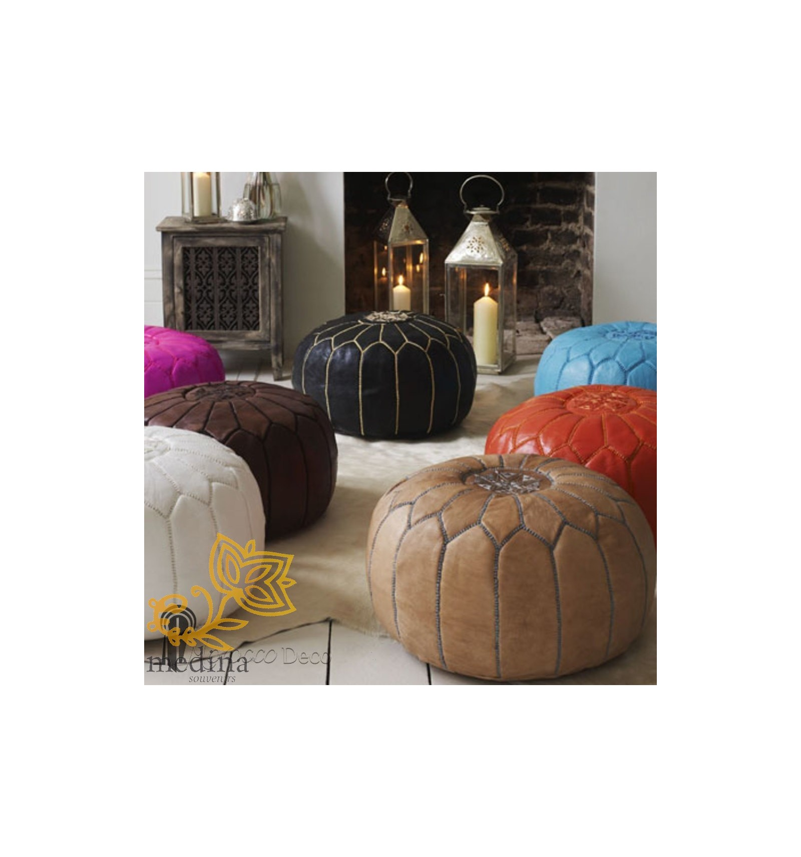 pouf design cuir marocain couleur chocolat un pouf enti rement en cuir fabriqu et cosu la main. Black Bedroom Furniture Sets. Home Design Ideas