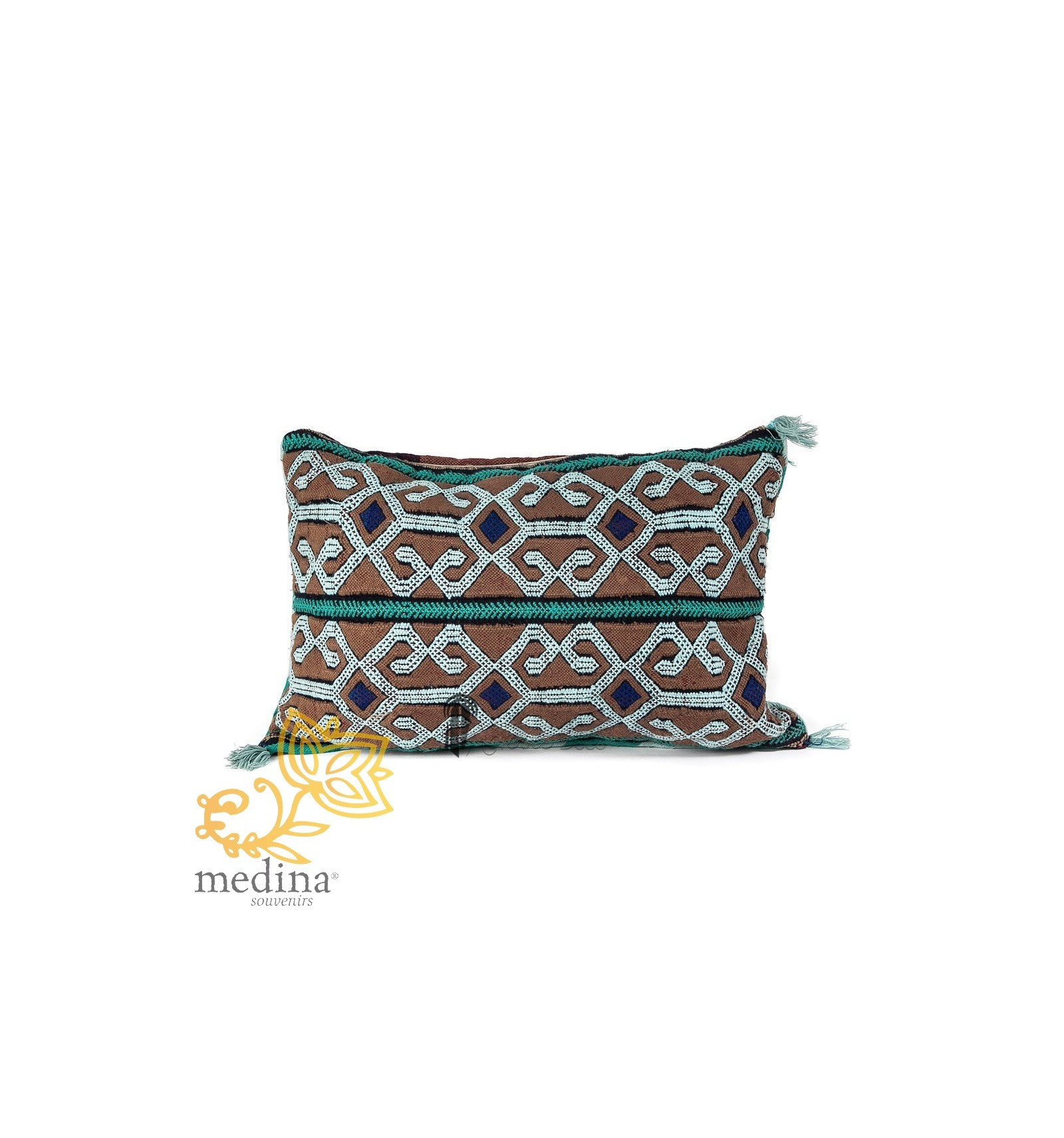 coussin vintage couleur bleue et marron tiss et brod la main pouf marocain. Black Bedroom Furniture Sets. Home Design Ideas
