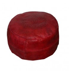 Chocolate and cream leather pouffe Moroccan arch design, Pouf Leather Ottoman Poof pouffes hassock Footstool